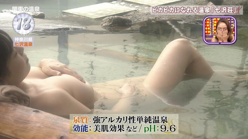 【温泉キャプ画像】絶対にポロリ期待してしまう巨乳タレント達の温泉レポw 22