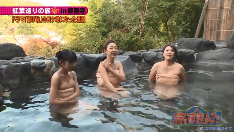 【温泉キャプ画像】タレント達の入浴シーンでハミ乳しまくりw 21