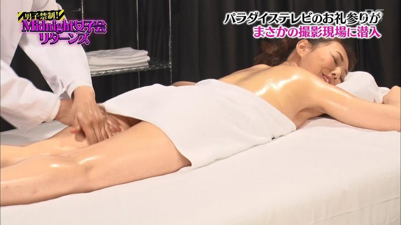 【エステキャプ画像】テレビでエステ受けてるタレント達のはみ出す横乳がヤバいw 22