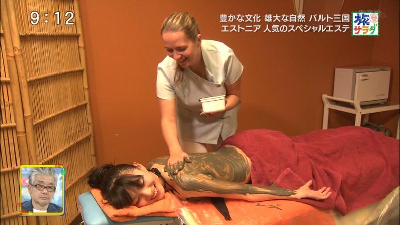 【エステキャプ画像】テレビでエステ受けてるタレント達のはみ出す横乳がヤバいw 24