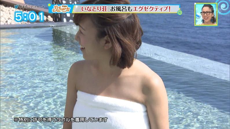 【温泉キャプ画像】ハミ乳しまくりのタレント達が温泉レポしてるぞwww